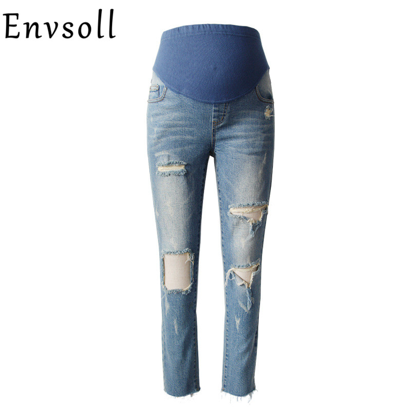 Envsoll Maternity Clothes Hole Straight Maternity Jeans For Pregnant Women Blue Pregnancy Pants Maternity Pants Trousers 2018 spring maternity jumpsuit pants for pregnant ladies pregnancy bib pants mummy playsuit women loose fit plaid strap trousers