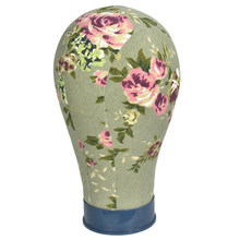 Pink Flower Canvas Block Manikin Mannequin Head Model For Hair Extension Toupee Lace Wig Making Styling Cap Display Stand(China)