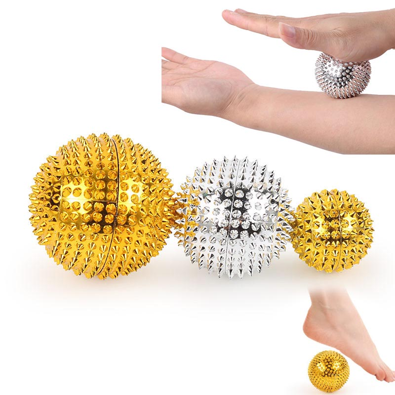 1Pair Hand Magnetic Therapy Spiky Massage Ball Pressure Relief Trigger Point Palm Acupuncture Massage Pocket Massage Ball footful spiky massage ball trigger point sport fitness hand foot pain relief muscle relax apparatus unisex hard 6 colors