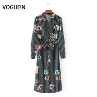 VOGUEIN New Womens Vintage Striped Floral Print Long Sleeve Bow Belt Midi Dress Wholesale