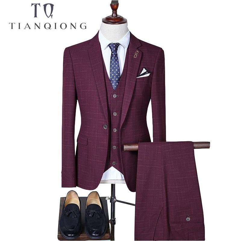 TIAN QIONG Men's Plaid Slim Fit Wedding Suits For Men Brand Business Formal Suit Black,Gray,Navy,wine Red(Blazers+Vest+Pants)