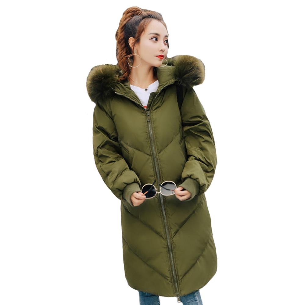 Long Femmes Manteaux Mujer Corée D'hiver En Mode Green Parkas UqqfT