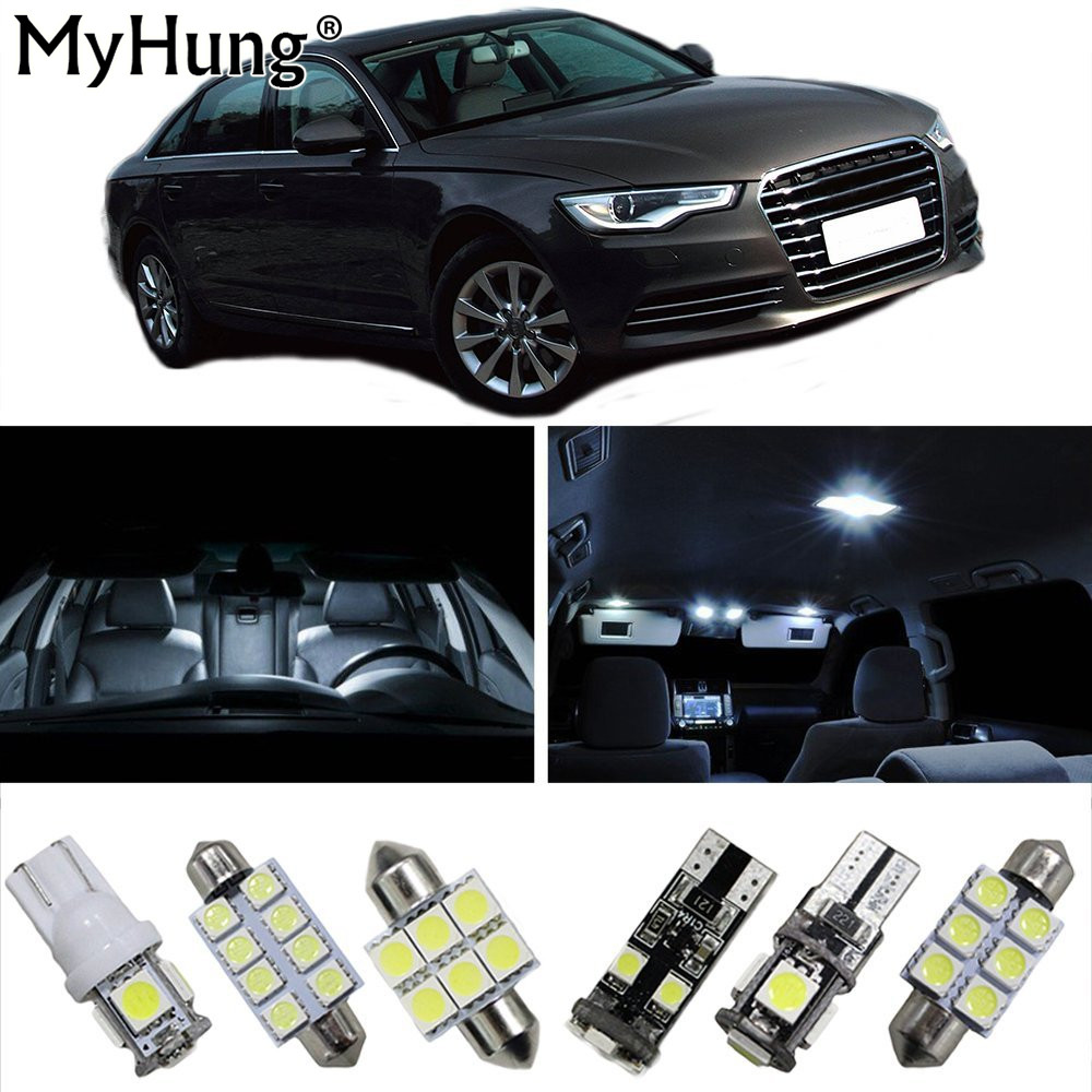 Car Led Interior Light For Audi A6L Car Replacement Bulbs Dome Map Lamp Light Bright White T10 36mm 42mm BA9S 19PCS
