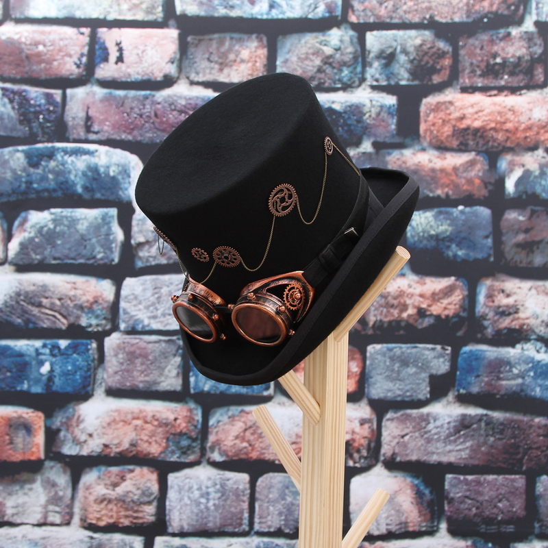 Image 5 - GEMVIE 100% Wool Felt Steampunk Unisex High Top Hats With Gear Glasses Rock Band Hat Costume Fedoras Magic Party Cylinder Hat-in Men's Fedoras from Apparel Accessories on AliExpress