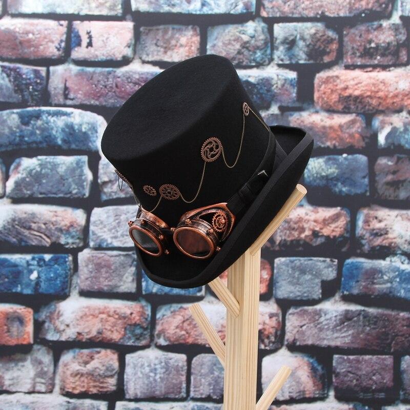 GEMVIE 100% laine feutre Steampunk unisexe haut chapeaux avec des lunettes de vitesse Rock bande chapeau Costume Fedoras magique fête cylindre chapeau - 5