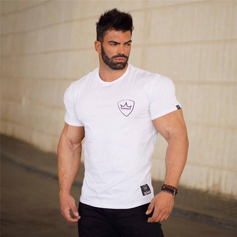 HTB1QqEFX.z.BuNjt bXq6AQmpXaa 2019 new gym breathable men's muscle fitness short sleeve training bodybuilding fitness cotton sportswear T shirt clothes