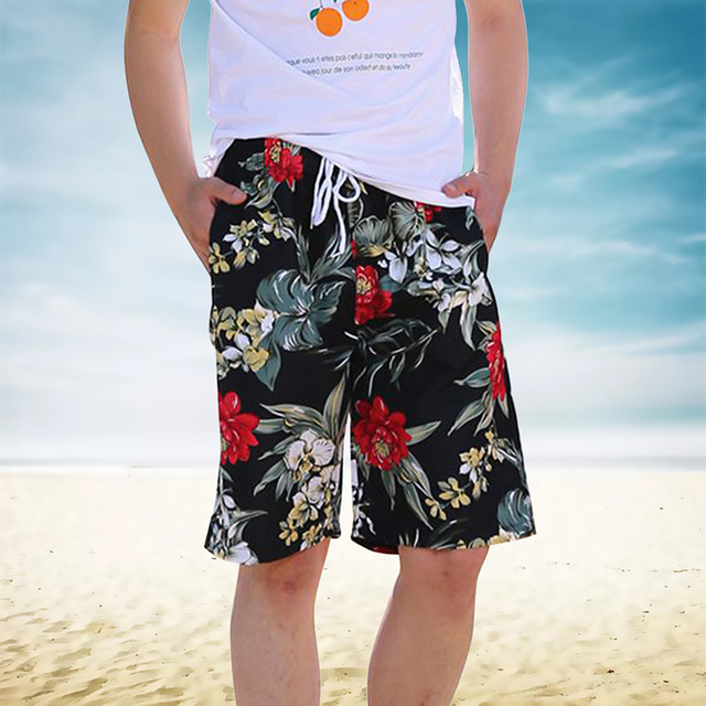 2019 Men's Shorts Trunk Beach Surfing Quick Dry Beach Board Hawaiian Shorts Holiday Drawstring Printed Casual Bottoms