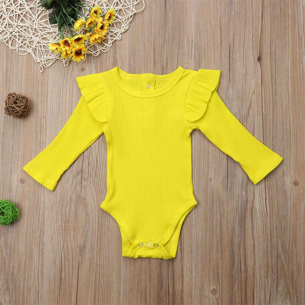2019 Baru Bayi Gadis Anak Laki-laki Pakaian Balita Lengan Panjang Ruched Solid Kerut-kerut Baju Monyet Anak Yang Baru Lahir Bergaris Bayi Pakaian Rajut