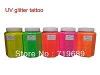 Free shipping 0.5 KG/Barrel UV Glitter Tattoos Powder for Body Art Temporary Tattoo /Body painting /Airbrush tattoo