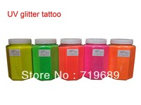 Free shipping 0.5 KG/Barrel UV Glitter Tattoos Powder for Body Art Temporary Tattoo /Body painting /Airbrush tattoo