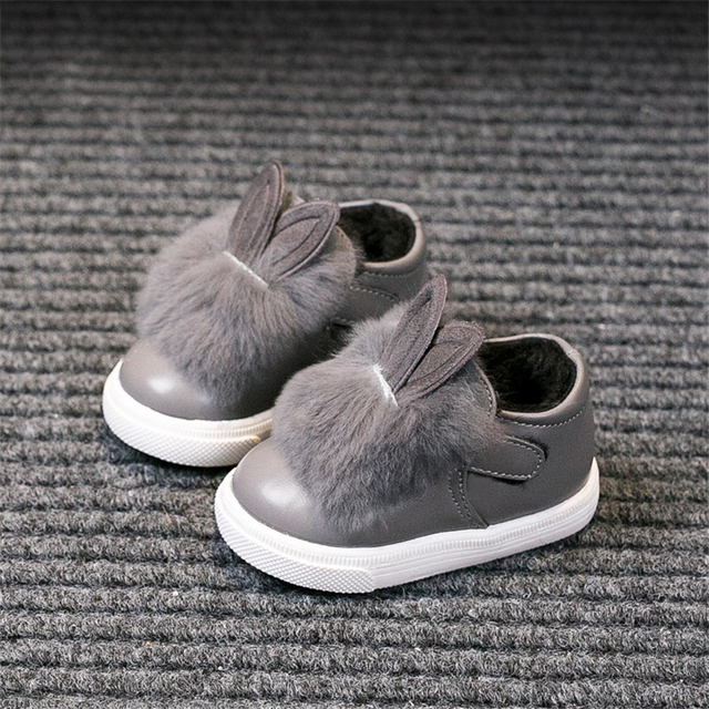 55c1e93445024 US $46.79 |Winter Warm Lolita Baby Girl Shoes Cute For Girls Toddler  Children Prewalker Plush Rabbit Designer Leather First Walker 70A1034-in  First ...