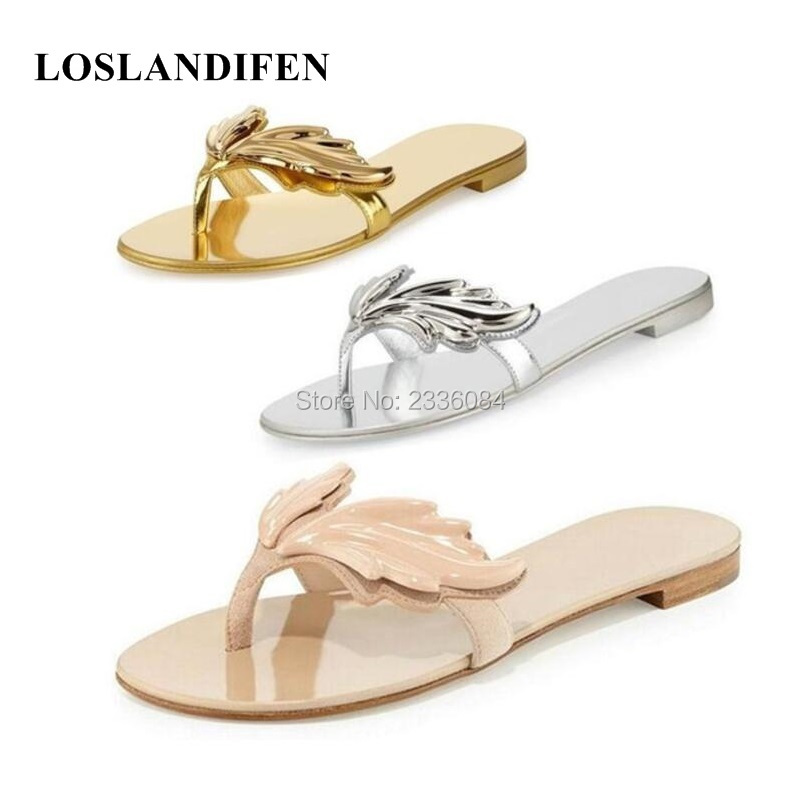 d446820b93ba1 ladies flame silver sandals big beach 2018 women golden beige new 43 red  simple flip Europe ...