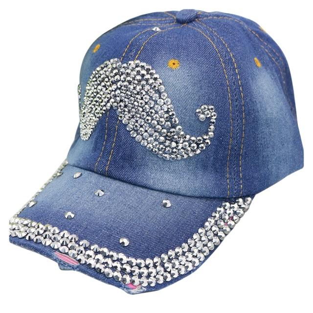 92687ddacca78d Women Girls Outdoor Rhinestone Crown shape Denim Baseball Cap Hat Dark blue/Light  blue