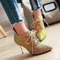 Súper Moda Mujer Botas Tobillo Tacones Delgados Sexy Glitter Oro Verde Plateado de Alta Calidad Negro Zapatos de Mujer de Tamaño EE.UU. 4-10.5