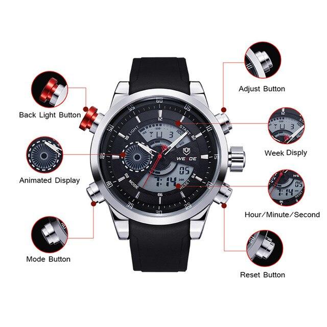 WEIDE Sports Military Watches Multifunctional Japan Quartz LCD Digital Movement Waterproofed Watch Men Wristwatches Luxury Brand
