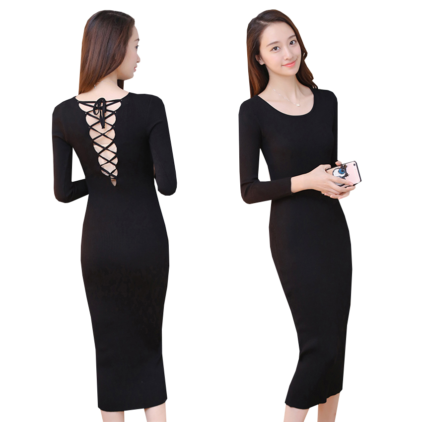 New Long Sweater Dresses Women Autumn Winter Sexy Straps Hollow Out Bodycon Knitted Dress Female Sheath Backless Vestidos AB552