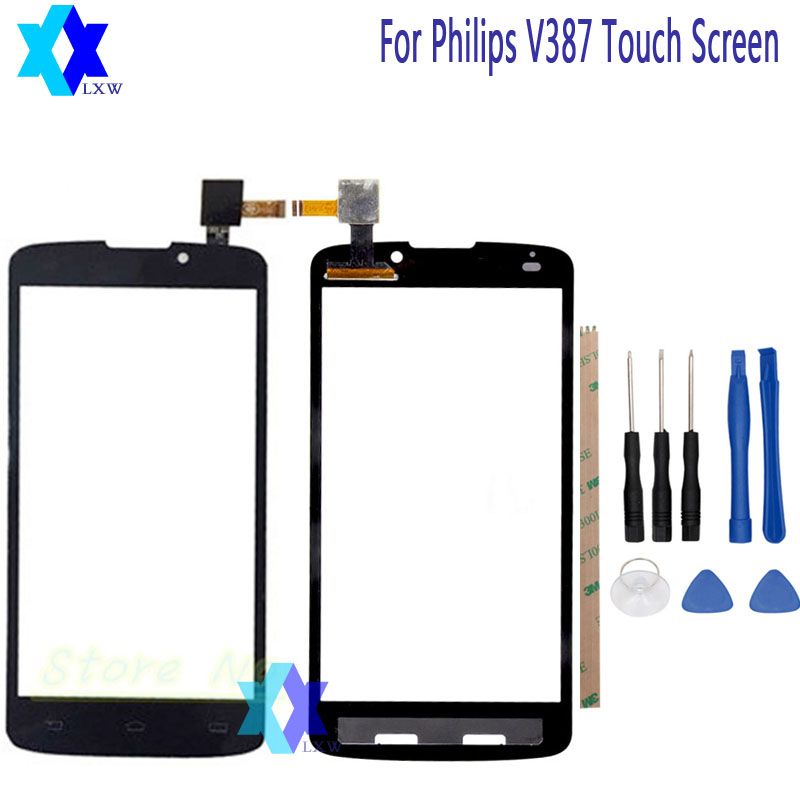 For philips V387 Touch Screen Original Guarantee Original New Glass Panel Touch Screen 5.0 inch Tools+Adhesive Stock