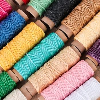 30 м/рулон, вощеная нить, хлопковый кожаный шнур, веревка, ремешок для ручного шитья, нить для кожи, аксессуары из искусственного материала
