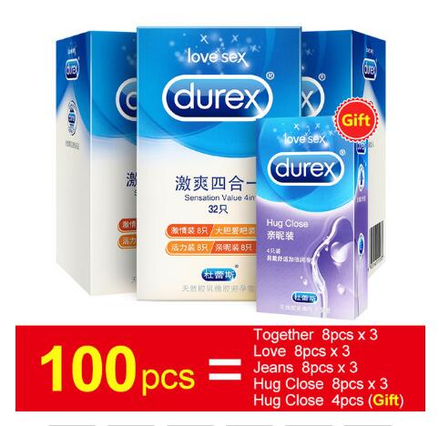 Durex 100PCS with air Ultra Thin 4 Types Cock Condom Intimate Goods Sex Products Natural Rubber Latex Penis Sleeve Sex For Men
