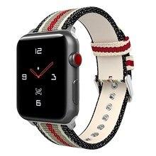 Нейлоновый кожаный ремешок для Apple Watch 38 мм 42 мм кожаный ремешок для iWatch 40 мм 44 мм нейлоновый ремешок серии 2 3 4