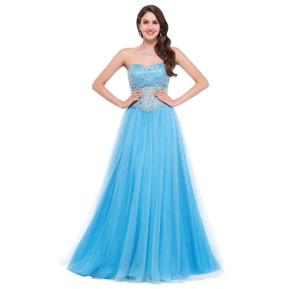 Beautiful Ball Gown Sweetheart Prom Dresses Red Pink Blue White Long ...