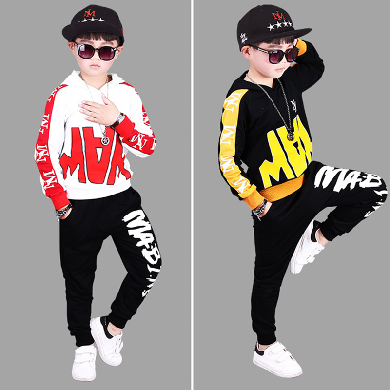 Boys Letter Clothes 2 Piece Set Top and Pants Children Print Cool Sports Suit Kids Hip Hop Dance Costume For 5 6 8 9 10 12 Years cat pattern print top and pants pajama set