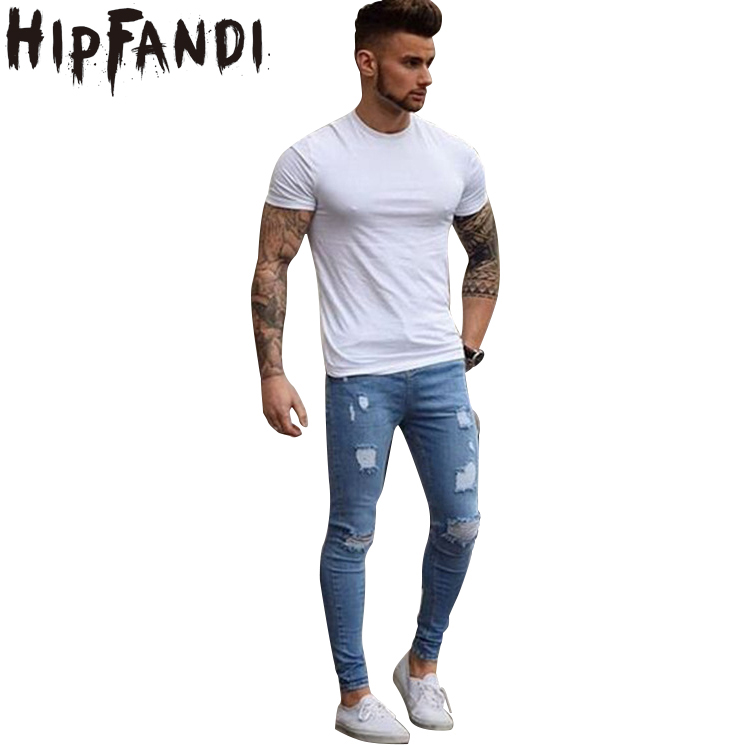 HIPFANDI Men Jeans Stretch Male Pants Distressed Envmenst Brand Designer 2017 Ripped Men Jeans Skinny Fit Style Streetwear