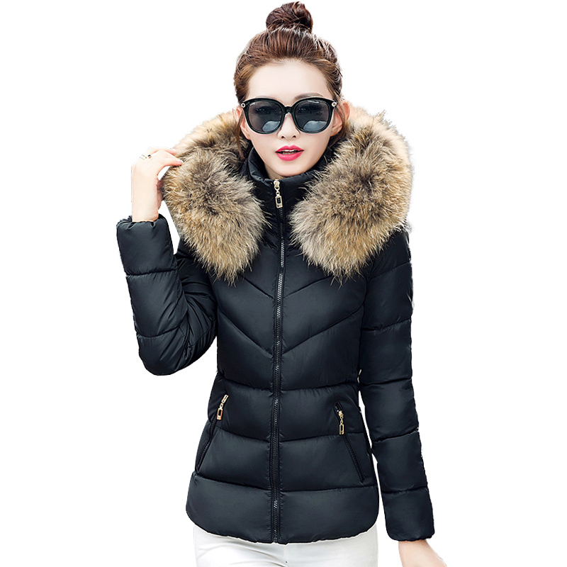 2017 New Fashion Elegant Winter Coat Female Short Slim Hooded Women Jacket  Fur Collar Plus Size Thick Cotton jacket Clothing hot new 2014 winter clothing women fashion fur collar hooded lace patchwork elegant slim plus size zipper long down coat wj1883