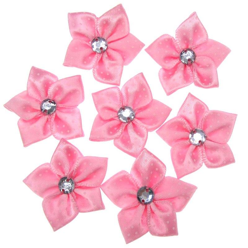30Pcs Pink Printed Satin Dot Ribbon Flower Acryl Rhinestone Fabric ... b2f27585429a