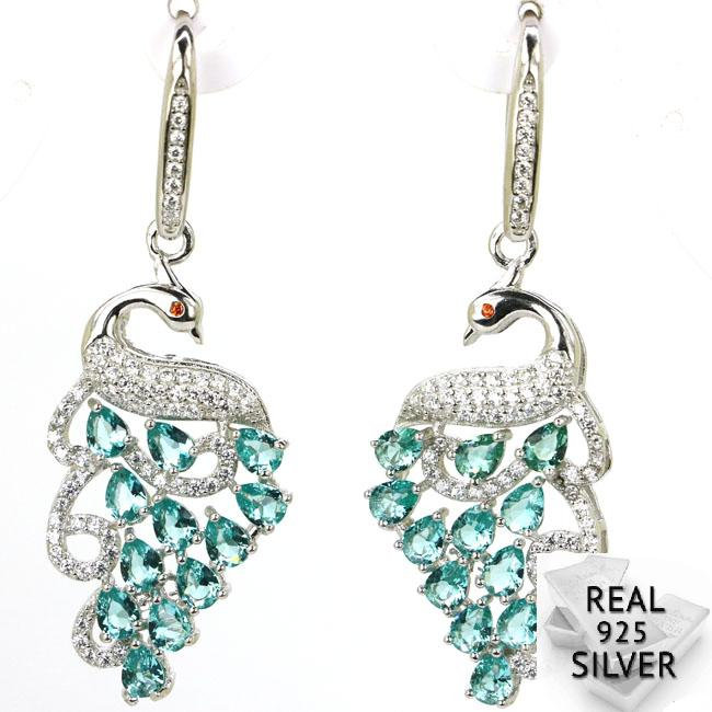 Real 7.3g 925 Solid Sterling Silver Deluxe Top Rich Blue Aquamarine CZ Ladies Earrings 49x18mm