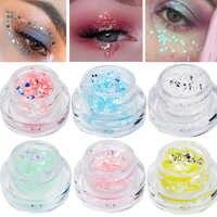 Błyszczące cekiny Eyeshadow Cream wyróżnienia żel wodoodporny do twarzy ciało Flash serce luźne tatuaż niebieski różowy olhos szybka wysyłka