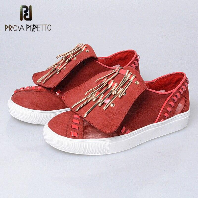 Prova Perfetto Fashion Metal Decoration Tongue Of Shoes Square Rivets Flat Shoes Genuine Leather Thickness Bottom Vulcanize Shoe цена