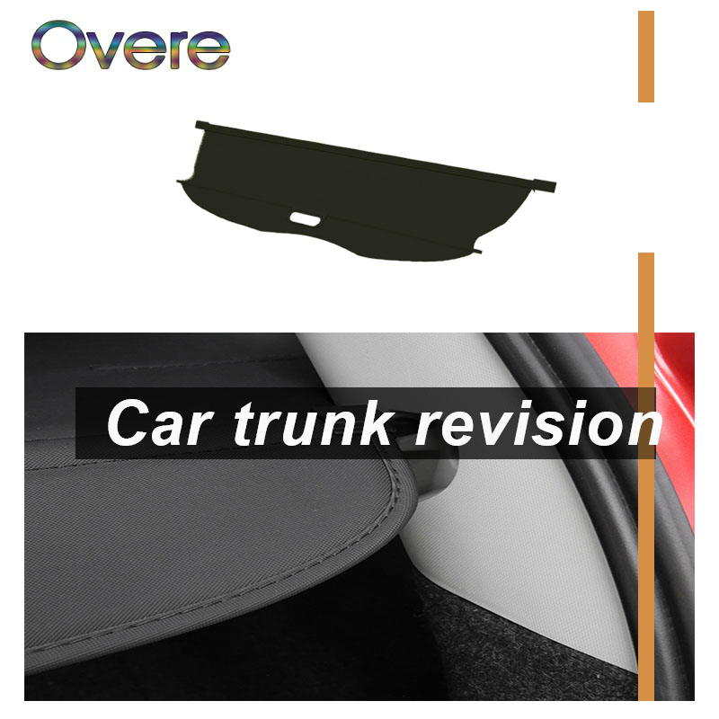 Overe 1Set Car Rear Trunk Cargo Cover For Mitsubishi Pajero Sport 2016 2017 2018 Black Security