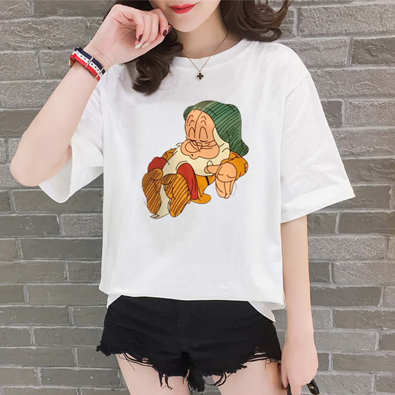 T shirt women 2019 new summer cartoon print short-sleeve women's T-shirts loose korean clothes tshirt basic white tops vestidos