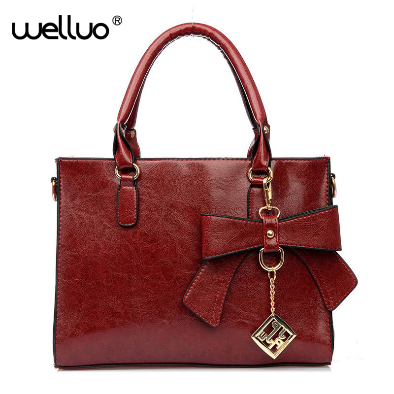 Vintage Women Pu Leather Handbags Bowknot Tassel Top-handle Bag Shoulder Messenger Bag Crossbody Bags Tote Bolsa Feminina XA802B vintage punk tassel shoulder bags pu leather handbags women messenger bag casual tote bag small crossbody bags