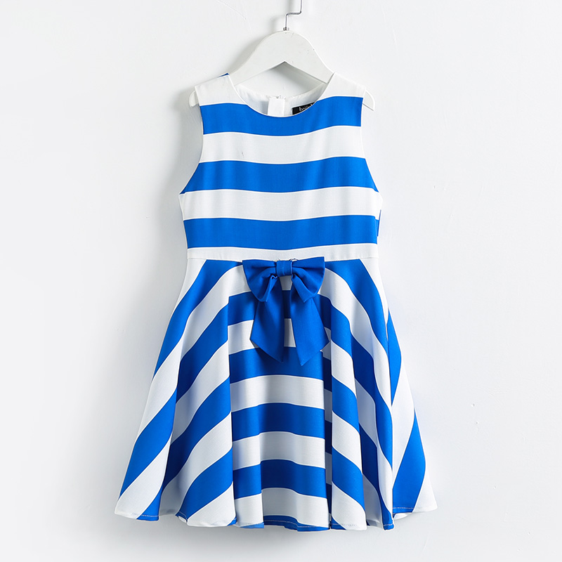 Summer children Teenagers big hem full dress kids 4Y-14Y girls bow striped student sundress girl 100-160cm fashion beach dresses curved hem striped tee dress