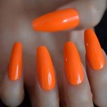 Quente neon laranja longo caixão unhas incrível brilhante uv gel polonês capa extra longo bailarina unhas falsas 24 ct