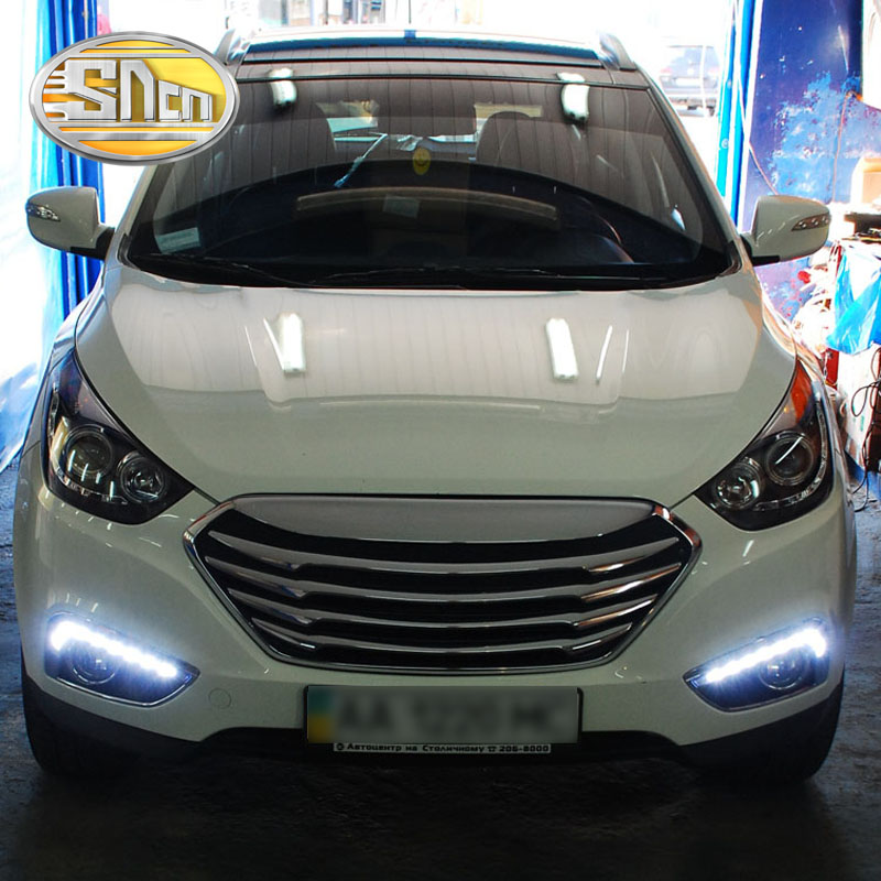 For Hyundai IX35 2010 2011 2012,Super Brightness Waterproof ABS Car DRL LED Daytime Running Light With Fog Lamp Hole SNCN led drl daytime running lights for hyundai tucson ix35 2010 2011 2012 2013 with fog lamp light hole quality assured