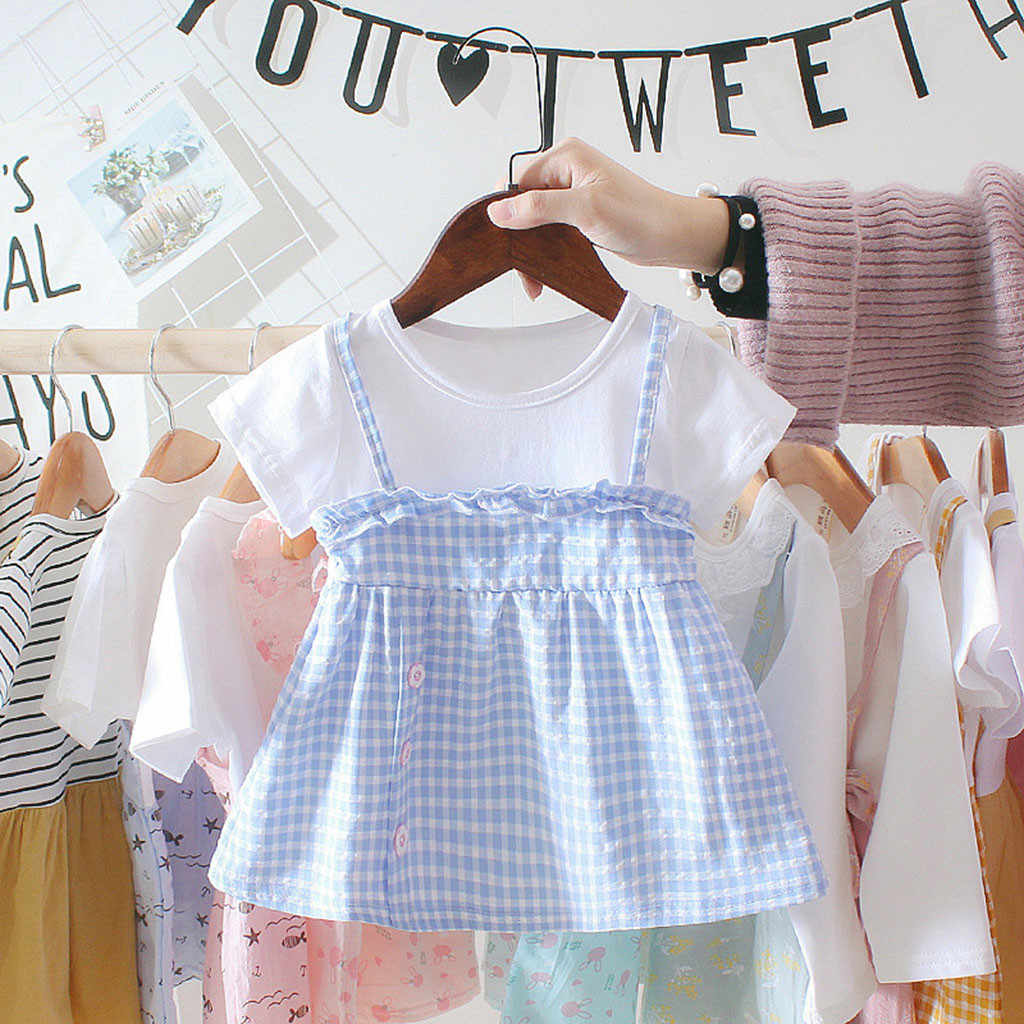 Dress Girl Infant Baby Girls Short Sleeve Plaid Print Ruffles Princess Dress Clothes Princess Dress Robe Fille Vestidos Shein