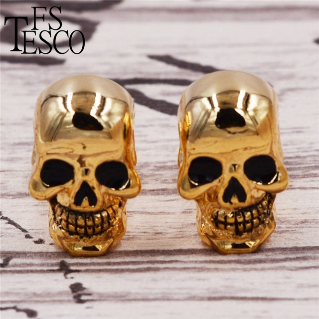 Arrive High Punk Style Gold Skeleton Skull Cufflinks Costume Ghost Head