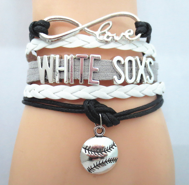 Infinity Love WHITE SOXS baseball Sports Team Bracelet Sports wish friendship Bracelets B09336