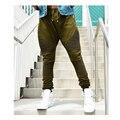 Качество новая мода мужская бегунов армии байкер брюки оливковое молния брюки хиппи штаны гарем slim fit тощий моды пот