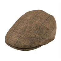 BOTVELA Wool Tweed Newsboy Flat Cap Men Women Large Check Beret Ivy Hat with Soft Lining Cabbie Driver Caps 002