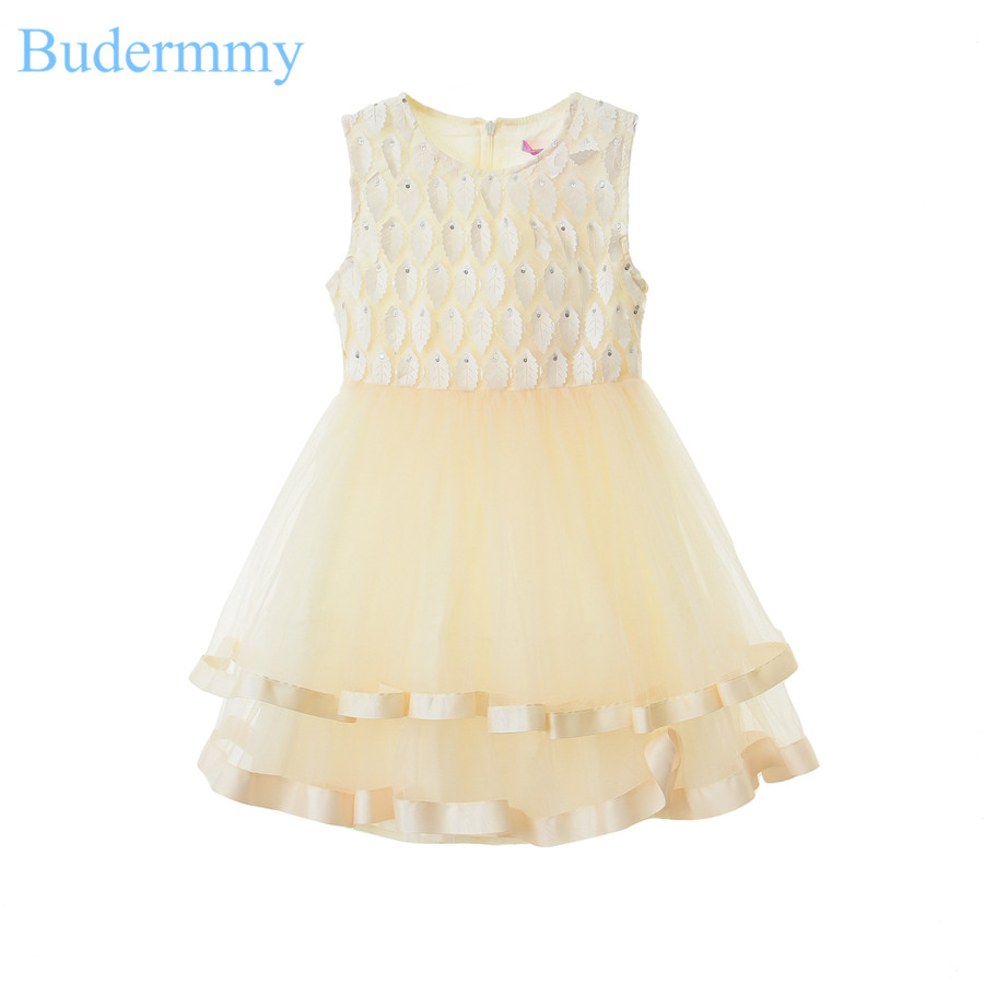Girls Dresses for Party and Wedding Patchwork Leaves Bow Sleeveless 2017 Summer Girl White Dress for 5 6 7 8 10 Years Kids Dress