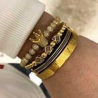 4 pièces/ensemble + Bracelet hommes bracelet bijoux couronne breloques macramé perles Bracelets tressage homme luxe bijoux pour femmes Bracelet cadeau