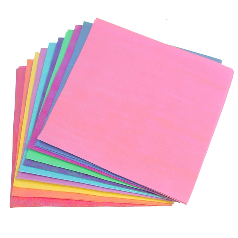 DIY 50Pcs/Set Square Origami Paper Single Sided Solid Color Shining Papers Kids Folded Paper Craft Scrapbooking Decor 15/10cm