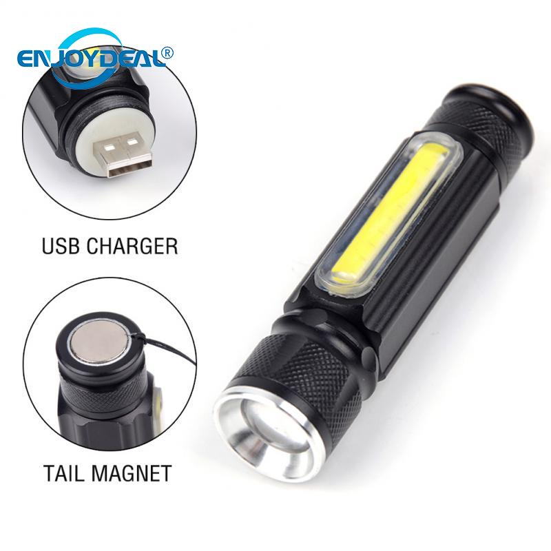 Portable Zoomable 3800LM T6 COB LED USB Rechargeable Flashlight Torch