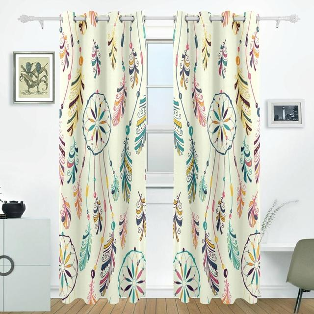 Dreamcatcher feather curtains drapes panels darkening blackout dreamcatcher feather curtains drapes panels darkening blackout grommet room divider for patio window sliding glass door planetlyrics Gallery