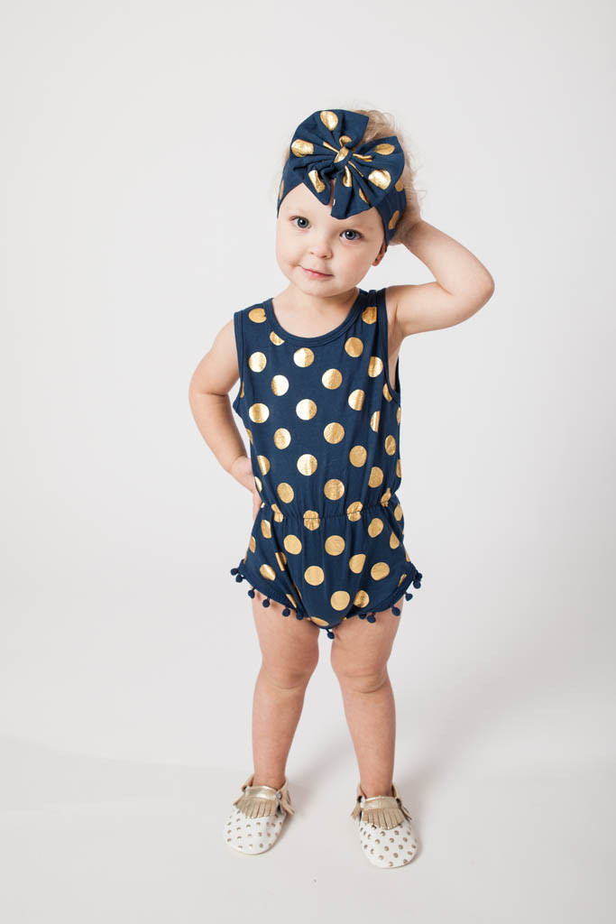 6f4069c06 Navy Blue & Gold Dots Pom Pom Romper Jumpsuit & Big Bow Headband Set,baby  girl clothes,baby outfit,Sparkle Gold Dots baby romper