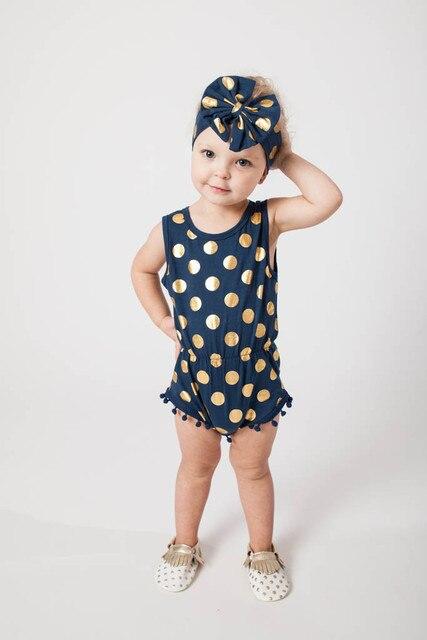 95fa930c7 Navy Blue   Gold Dots Pom Pom Romper Jumpsuit   Big Bow Headband Set ...